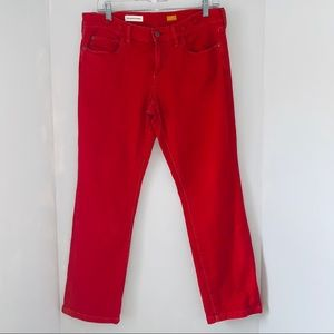 Anthropologie Size 29 Red low rise straight jeans
